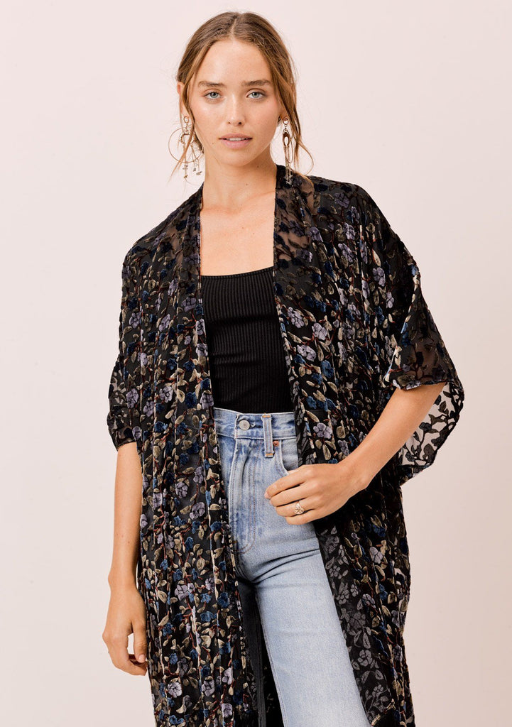 [Color: Black/BlueMulti] Lovestitch black/blue floral velvet burnout kimono