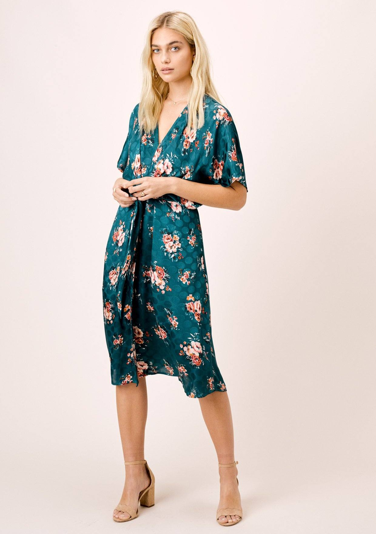 [Color: Teal/Rose] Lovestitch teal/rose watercolor rose printed, dolman midi dress with tie front.