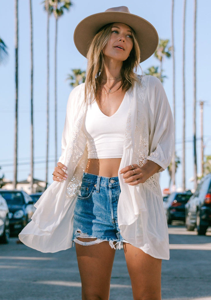 [Color: White] Lovestitch beautiful white bohemian chic kimono cardigan top with sheer embroidered details up the back, long sleeves and billowy bohemian fit