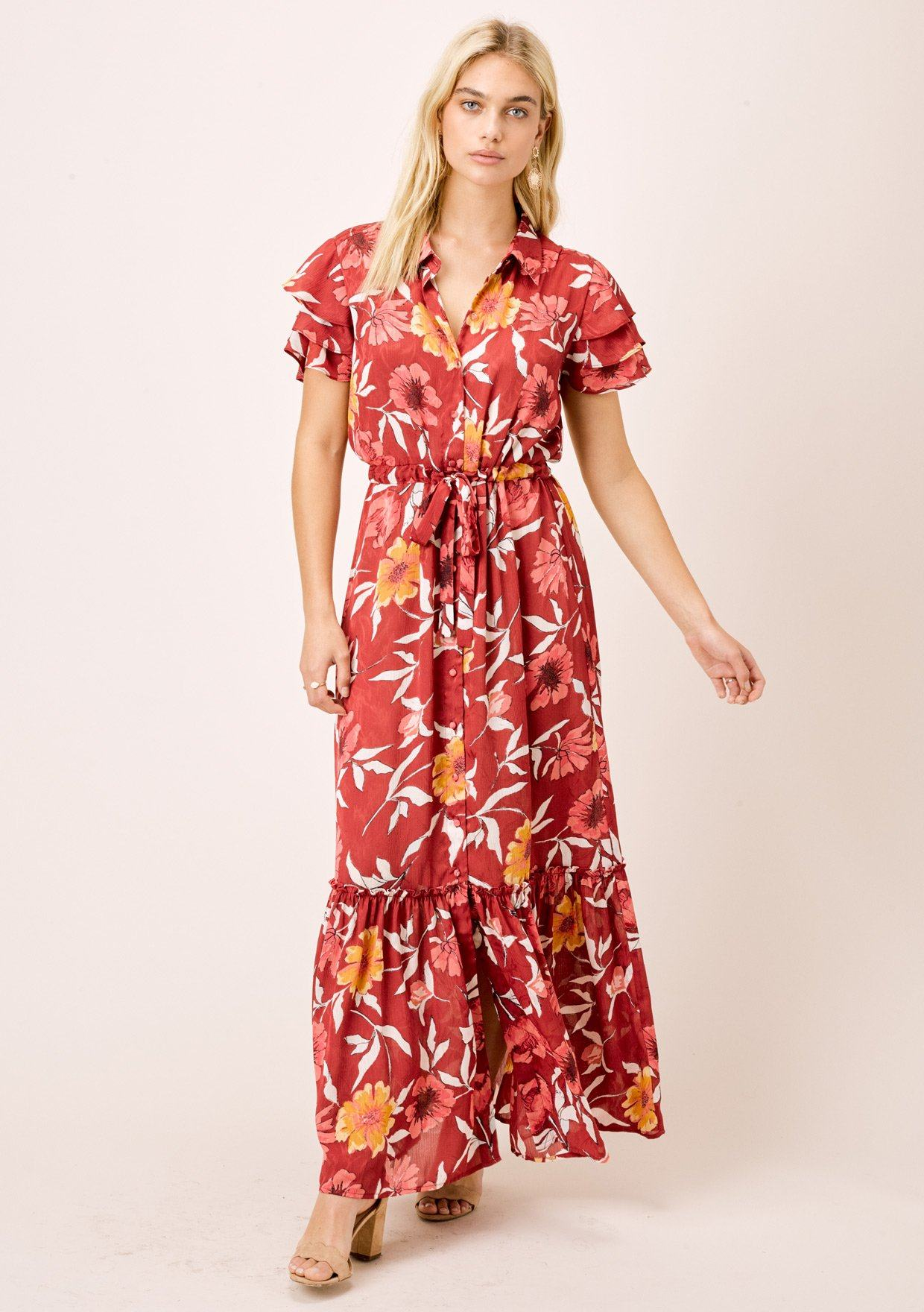[Color: Wine/Gold] Lovestitch wine/gold sexy, vintage inspired, large floral print, short sleeve tiered maxi dress