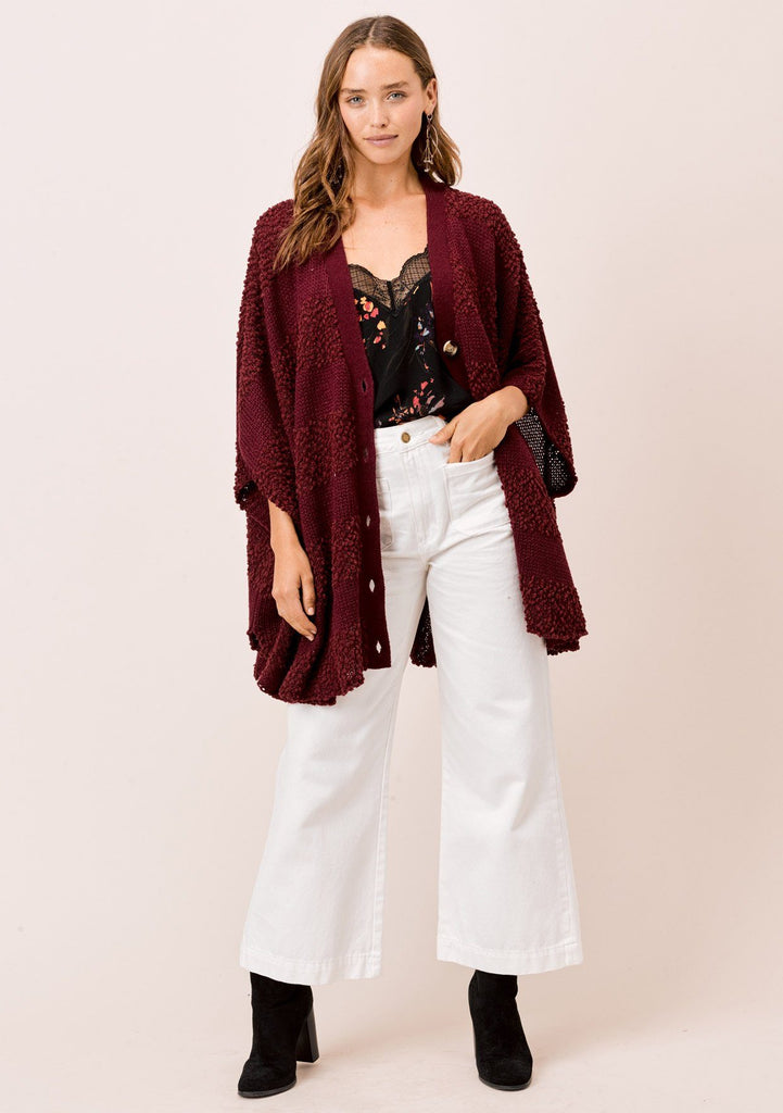 [Color: Wine] Lovestitch wine Oversized, popcorn stripe, button down, poncho style cardigan.