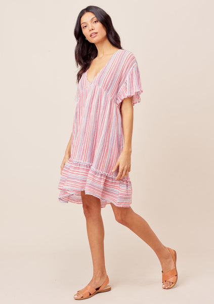 Sienna Striped Mini Beach Dress