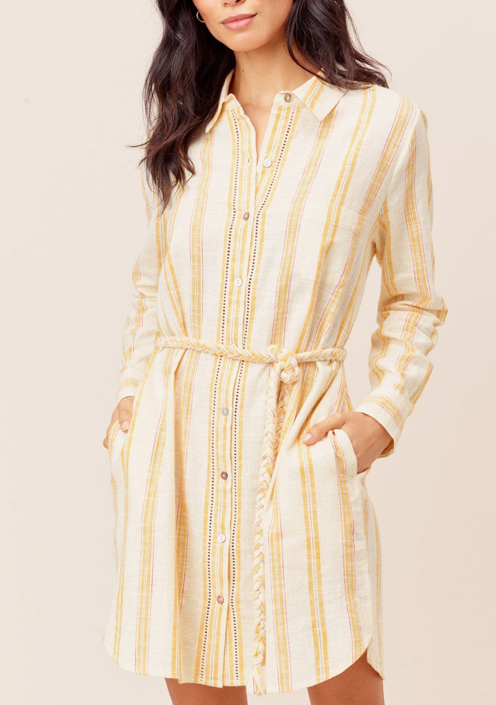 [Color: OffWhite/Yellow] Lovestitch offwhite/yellow Beautiful, long sleeve, striped buttondown shirt dress with tie waist.