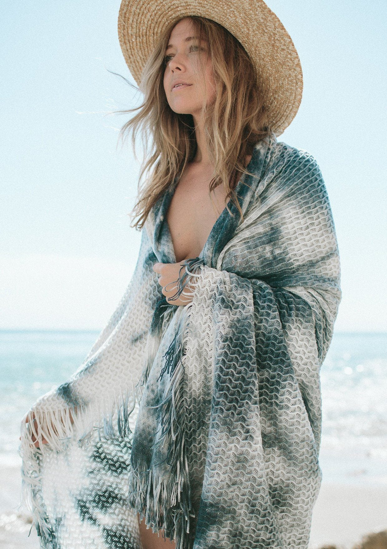 [Color: Indigo/Ivory] Beautiful beach vibes blue and white tie-dye throw blanket with fringe