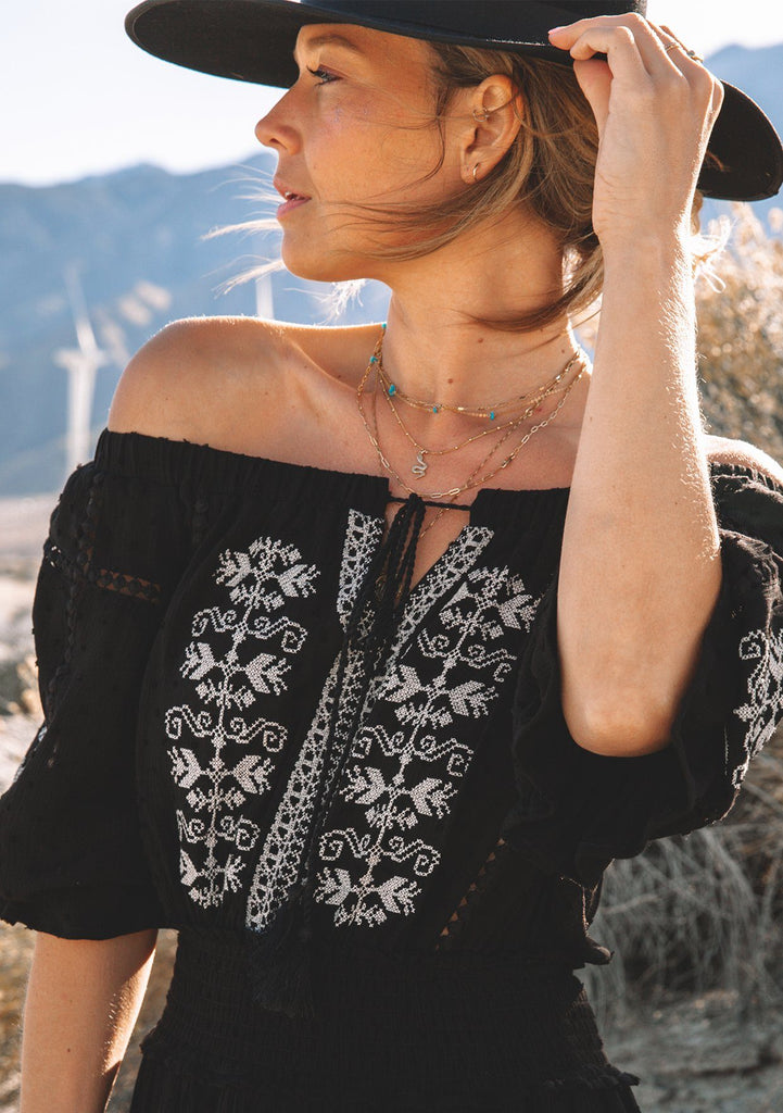[Color: Black Taupe] Lovestitch boho black mini dress with embroidered front, off the shoulder with ruffle sleeves