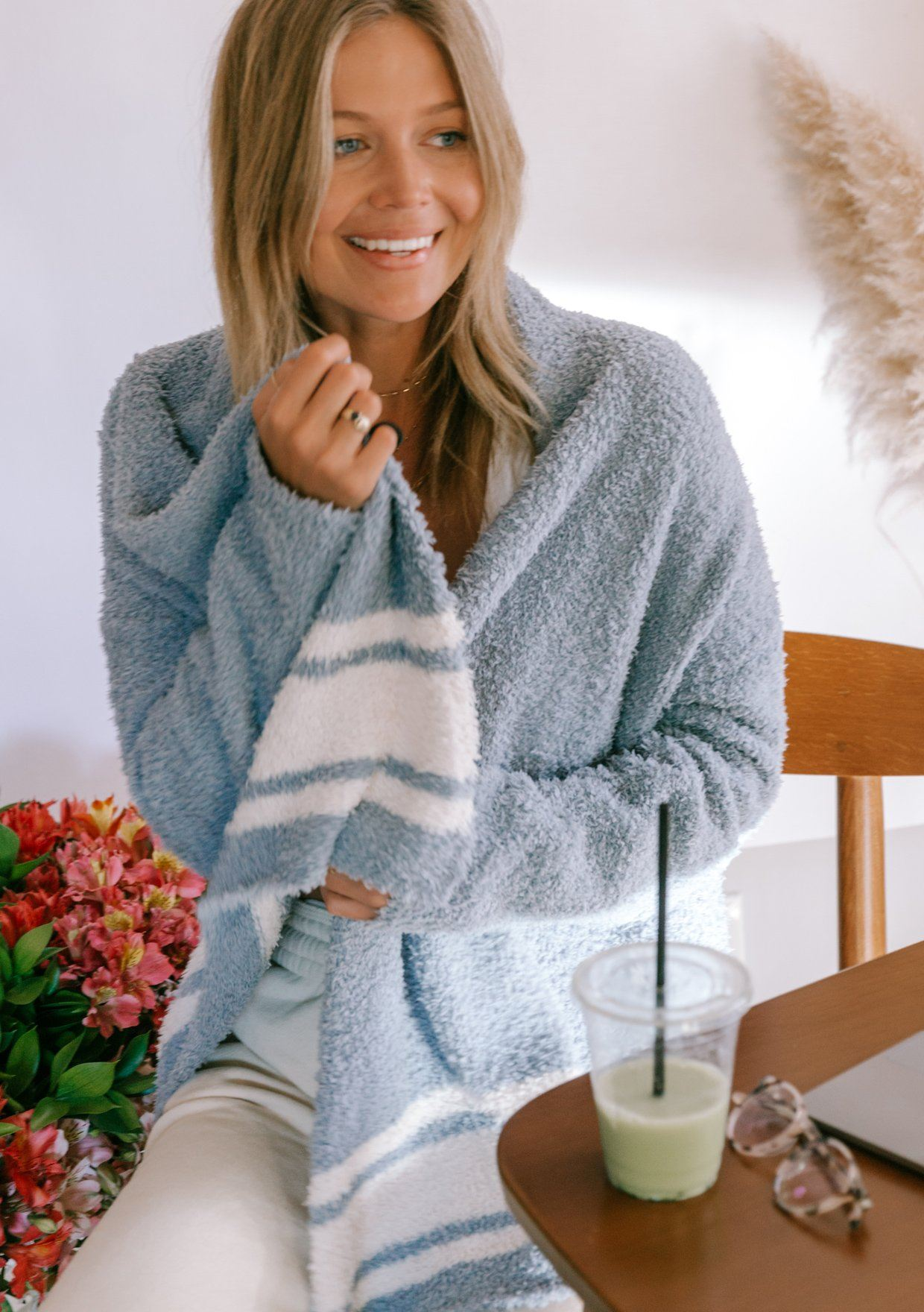 [Color: Slate/Sand] Lovestitch beautiful and super soft fuzzy lounge cardigan that feels like a cloud. A classic white stripe adds just enough style to wear it out, even if it feels like a soft bathrobe.
