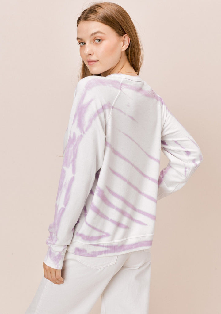 [Color: White/Lavender] Lovestitch White & Lavender Tie Dye Fleece Raglan Crewneck Pullover Top