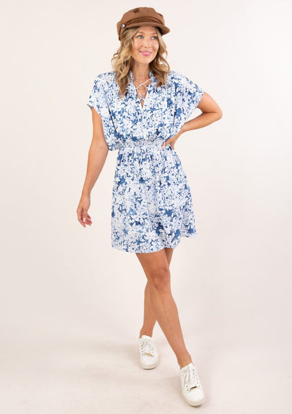 Lace It Up Floral Mini Dress