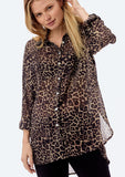 [Color: Taupe/Black] Lovestitch brown leopard printed, sheer chiffon, buttondown.