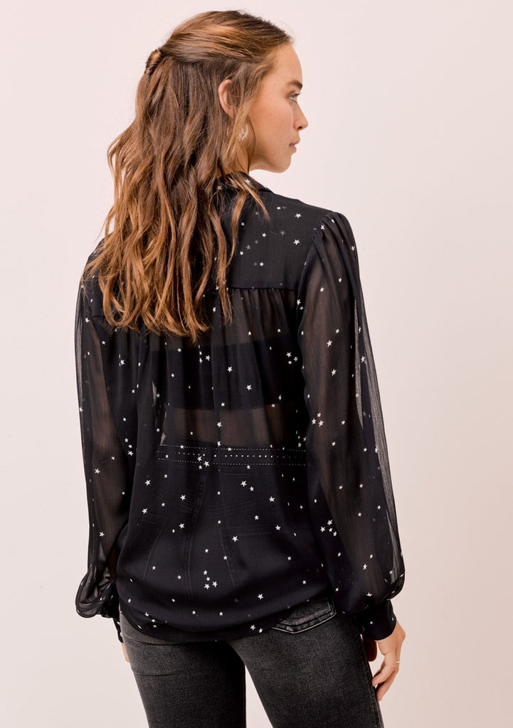 [Color: Midnight/Ivory] Lovestitch sheer star printed buttondown with volume sleeves and shirring detail.