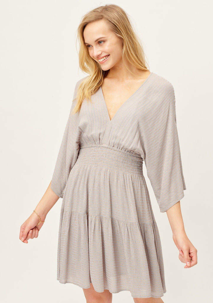 [Color: Grey/Gold] Lovestitch adorable cute and casual mini dress with long flattering kimono sleeves, a V-neckline and V-back with tie details. Smocked waist for a flattering fit.