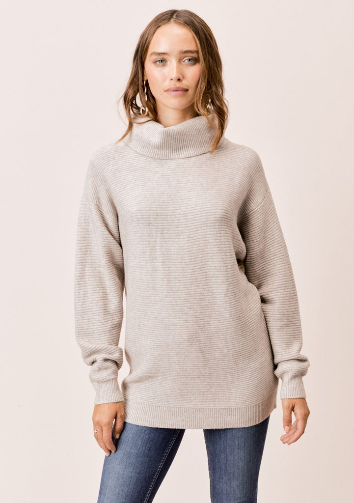 [Color: Heather Stone] Lovestitch Heather Stone Relaxed Fit Ribbed Turtleneck Sweater