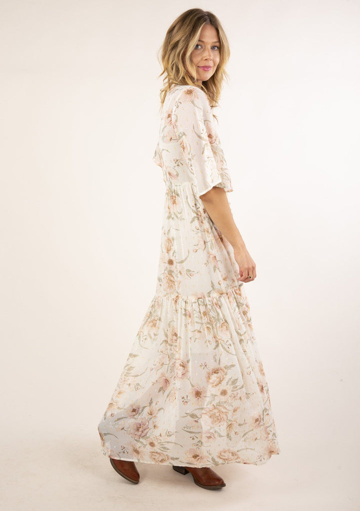 [Color: Vanilla Rose] The most beautiful and elegant, flattering white maxi dress with floral print, tiered ruffle skirt, button down maxi dress with half length sleeves.