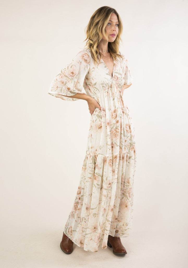 [Color: Vanilla/Rose] The most beautiful and elegant, flattering white maxi dress with floral print, tiered ruffle skirt, button down maxi dress with half length sleeves.