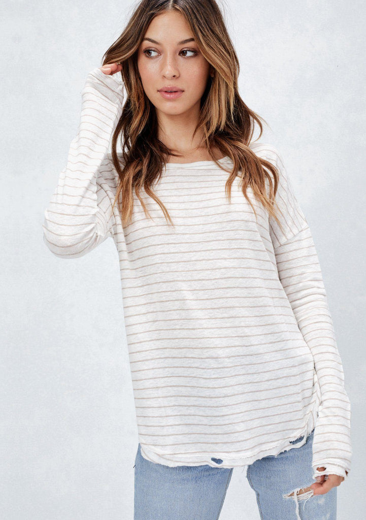 [Color: Ivory/Sand]  Lovestitch striped, long sleeve distressed top