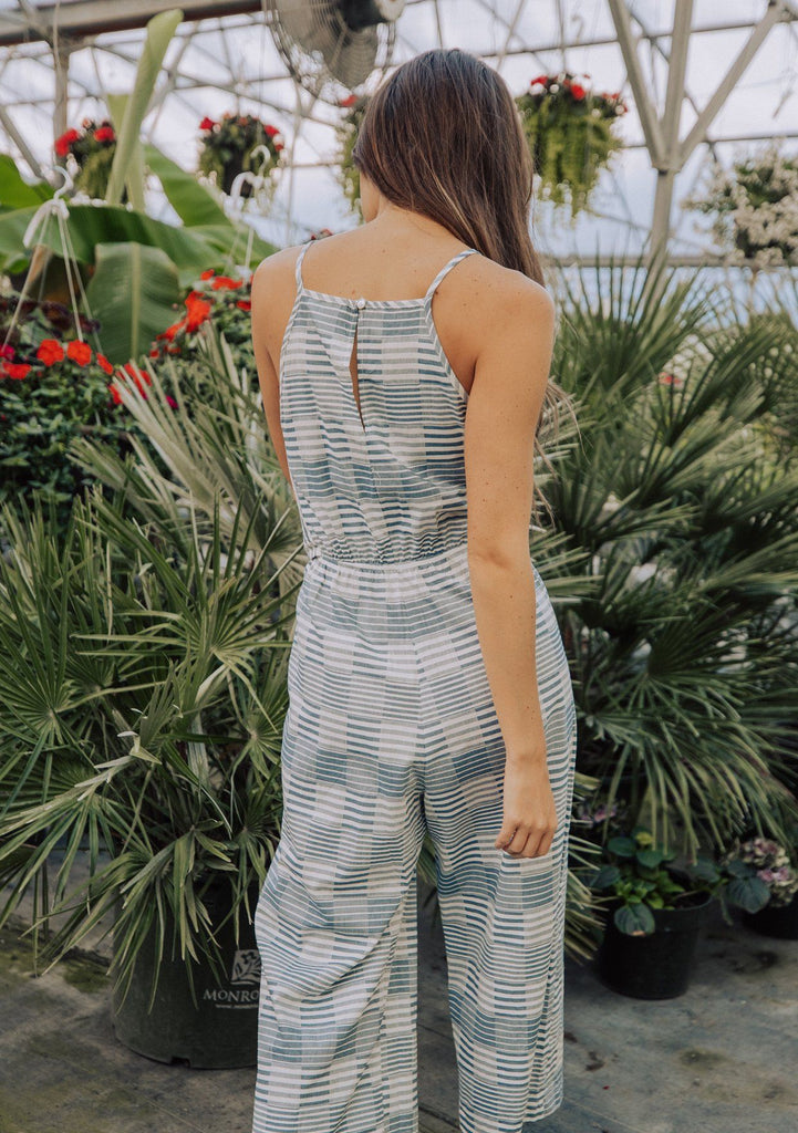 [Color: Blue] Lovestitch Sleeveless, striped jacquard jumpsuit with tie at the waist.