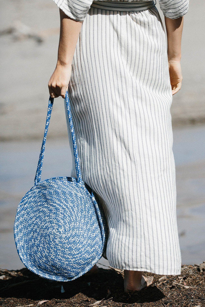 [Color: Blue/OffWhite] Lovestitch Handwoven, cotton round tote.