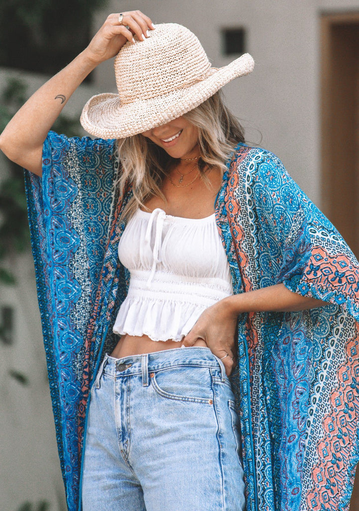 [Color: Blue Multi] Beautiful flowy, long kimono with an intricate paisley pattern that mixes blues and pinks