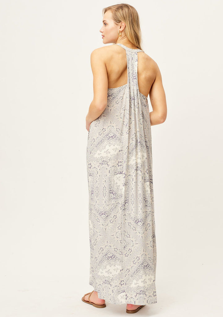[Color: Lavender/Grey/Ivory] Lovestitch lavender/grey/ivory Paisley printed, pleated racerback maxi dress with side pockets.