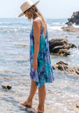 [Color: Purple Turquoise] Beautiful boho tie dye mini beach dress. Perfect Summer tank dress for throwing on over your swimsuit. The trapeze style silhouette adds flow and movement.