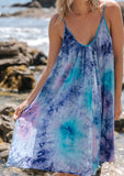 [Color: Purple Turquoise] Beautiful boho tie dye mini beach dress. Perfect Summer tank dress for throwing on over your swimsuit. Featuring an all over tie dye print.