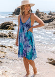 [Color: Purple Turquoise] Beautiful boho tie dye mini beach dress. Perfect Summer tank dress for throwing on over your swimsuit. Featuring subtle shirring details at the neckline.