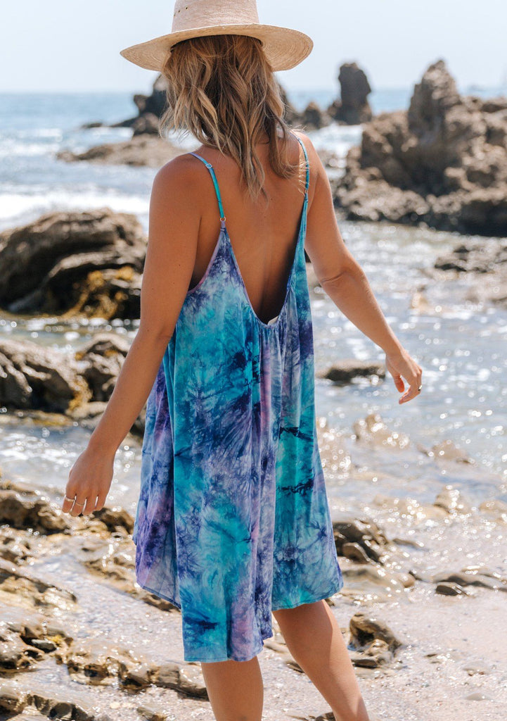[Color: Purple Turquoise] Beautiful boho tie dye mini beach dress. Perfect Summer tank dress for throwing on over your swimsuit. Featuring a sexy scooped back and adjustable spaghetti straps.