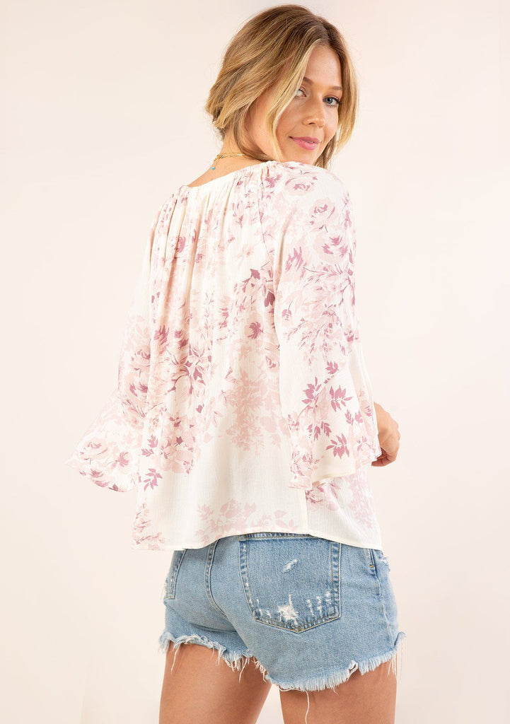 [Color: Rose/Ivory] Beautiful billowy bohemian  floral off shoulder blouse with exaggerated ruffle wrist details.
