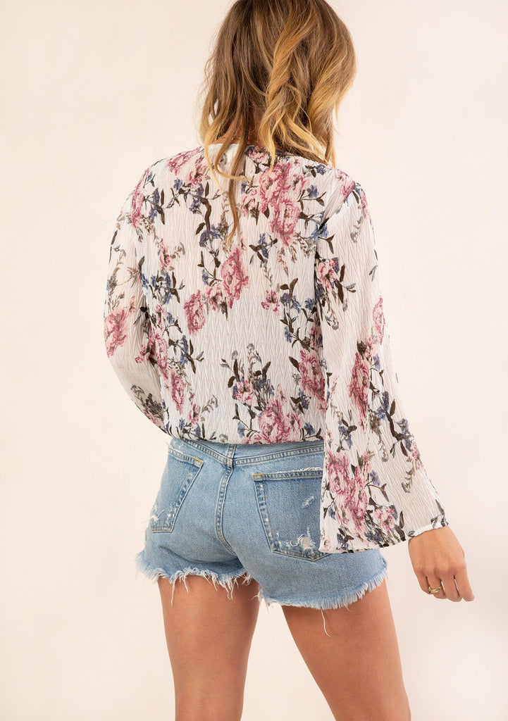 [Color: Ivory Orchid] Gorgeous vintage floral print top. The perfect boho top for Summer.