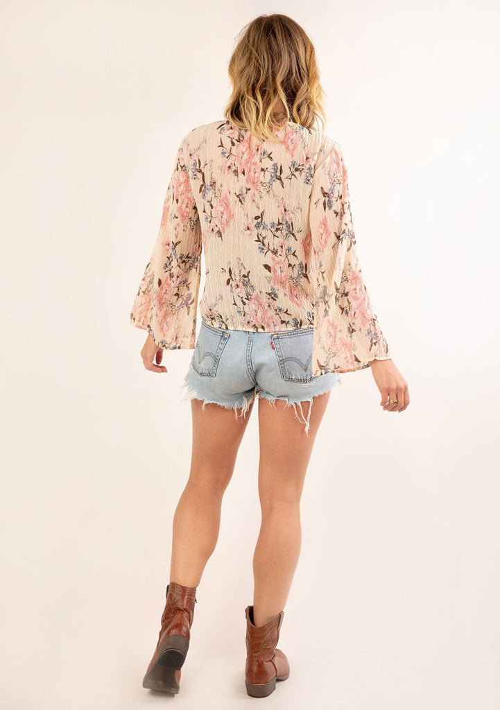 [Color: Almond Rose] Gorgeous vintage floral print top. The perfect boho top for Summer.