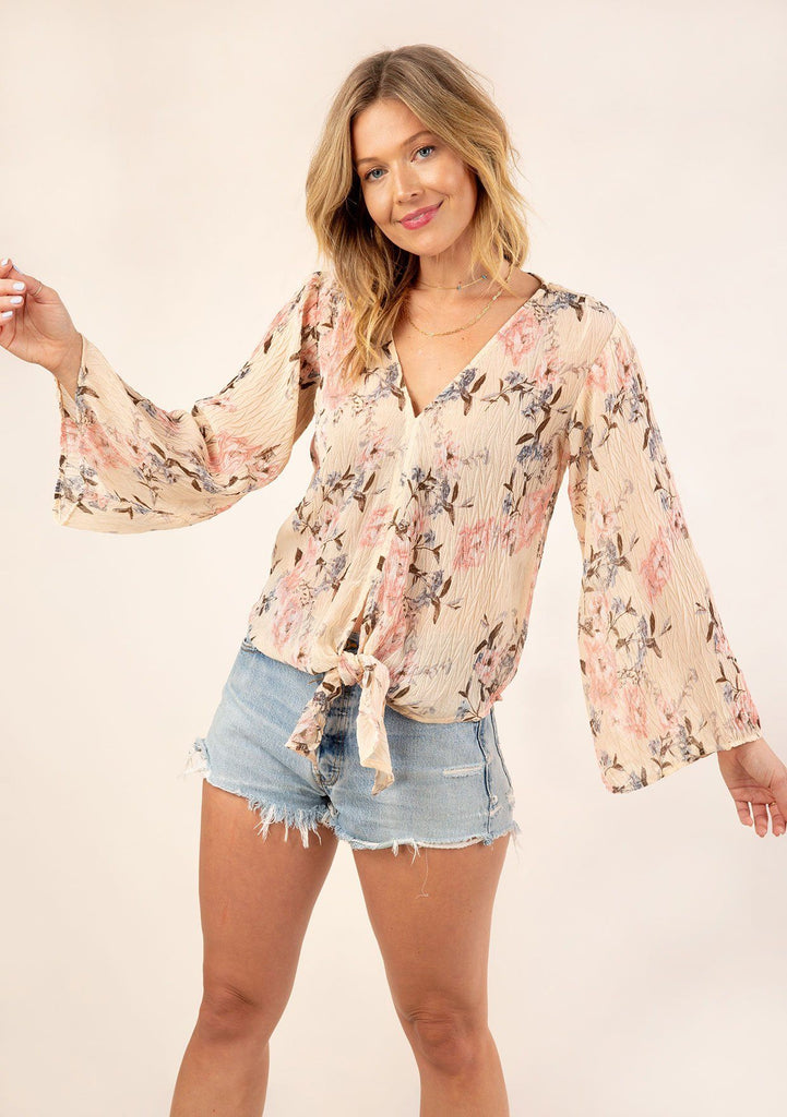 [Color: Almond Rose] Gorgeous vintage floral print top. Featuring voluminous bell sleeves.