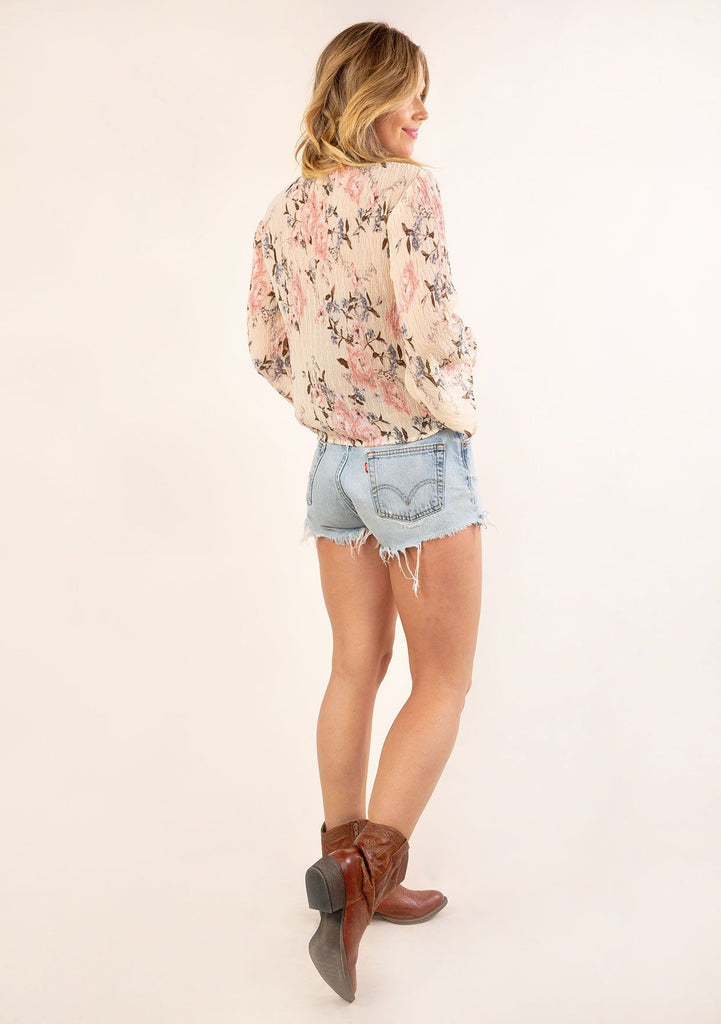 [Color: Almond Rose] Gorgeous vintage floral print top. A relaxed fit top in a pretty crepey textured fabric.