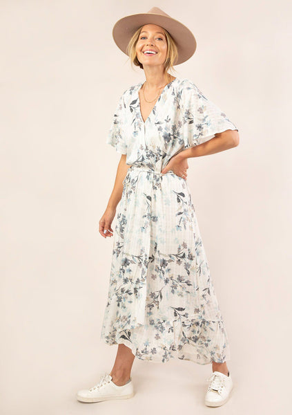 Floral Flutter Sleeve Wrap Dress