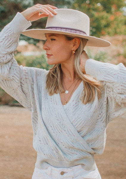 Ethereal Pointelle Knit Surplice Sweater