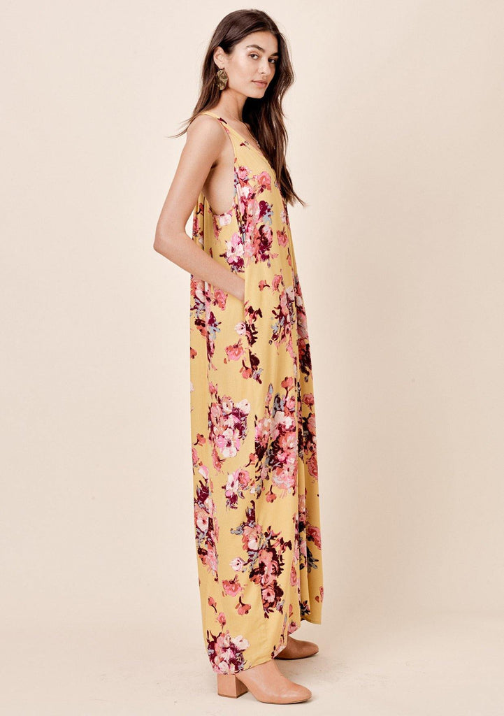 [Color: Mustard/Plum] Lovestitch pleated, floral printed, racerback maxi dress with side pockets.