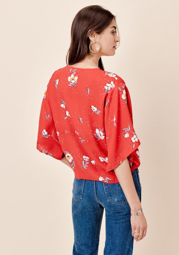 [Color: Tomato] Lovestitch Floral Tie Front Top