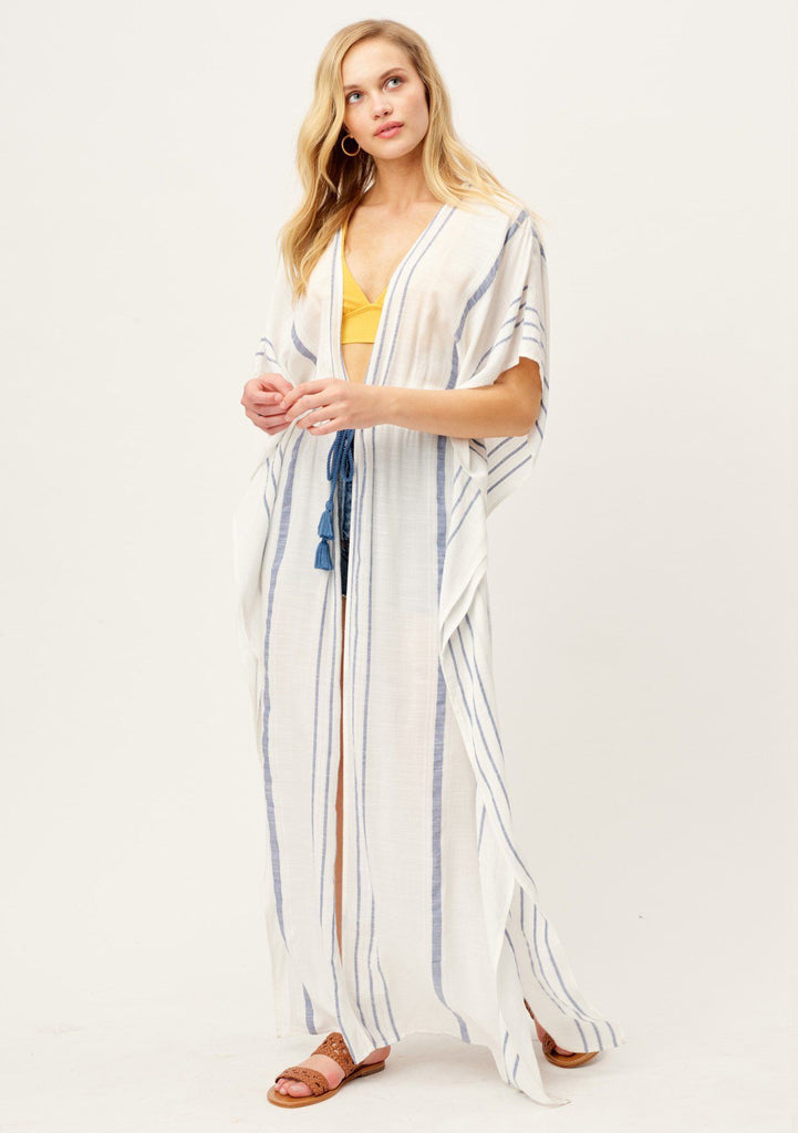 [Color: OffWhite/Indigo] Lovestitch black & white striped, long & flattering, lightweight kimono cover up