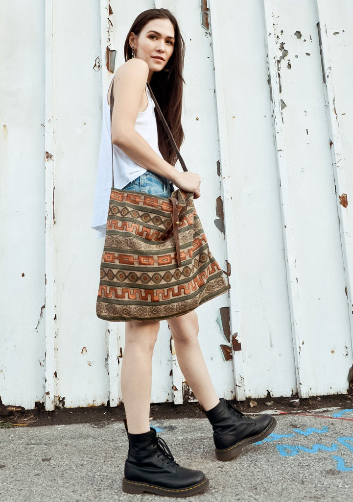 [Color: Brown Multi] Lovestitch Roomy Cotton Tote with Cotton Strap