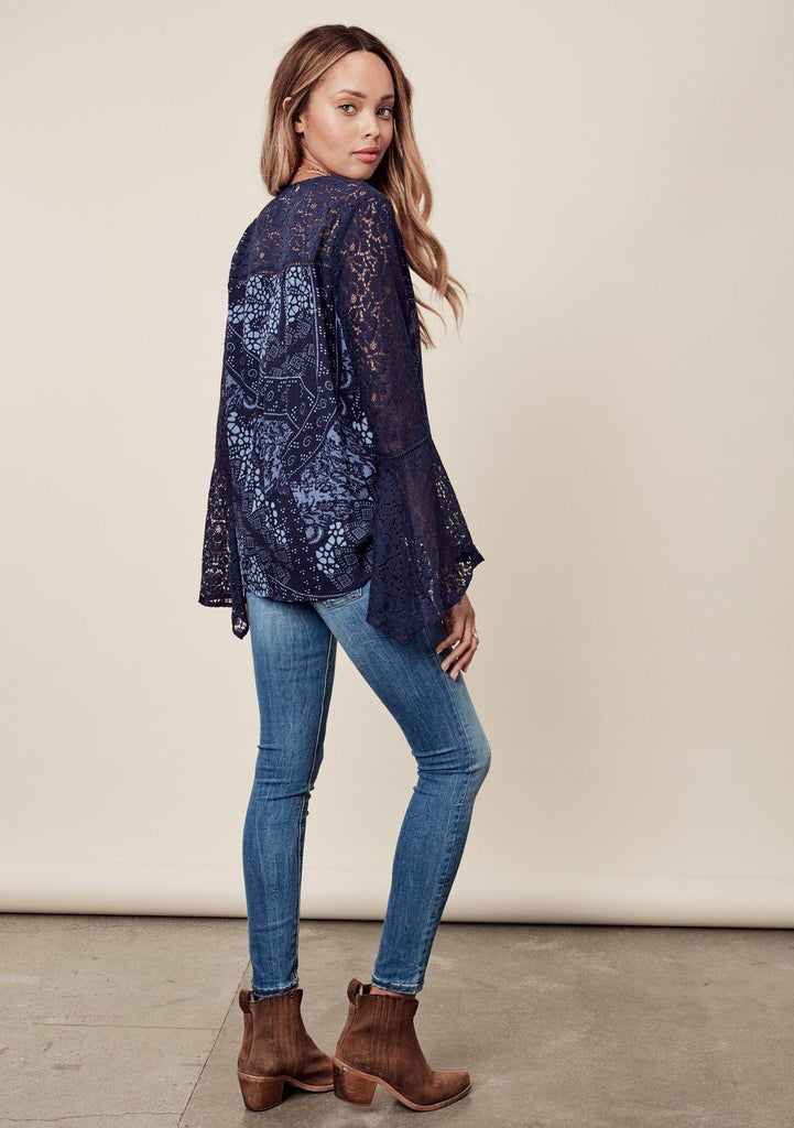 [Color: Midnight/Blue] Beautiful blue bohemian blouse with exaggerated bell sleeves & lace details throughout.