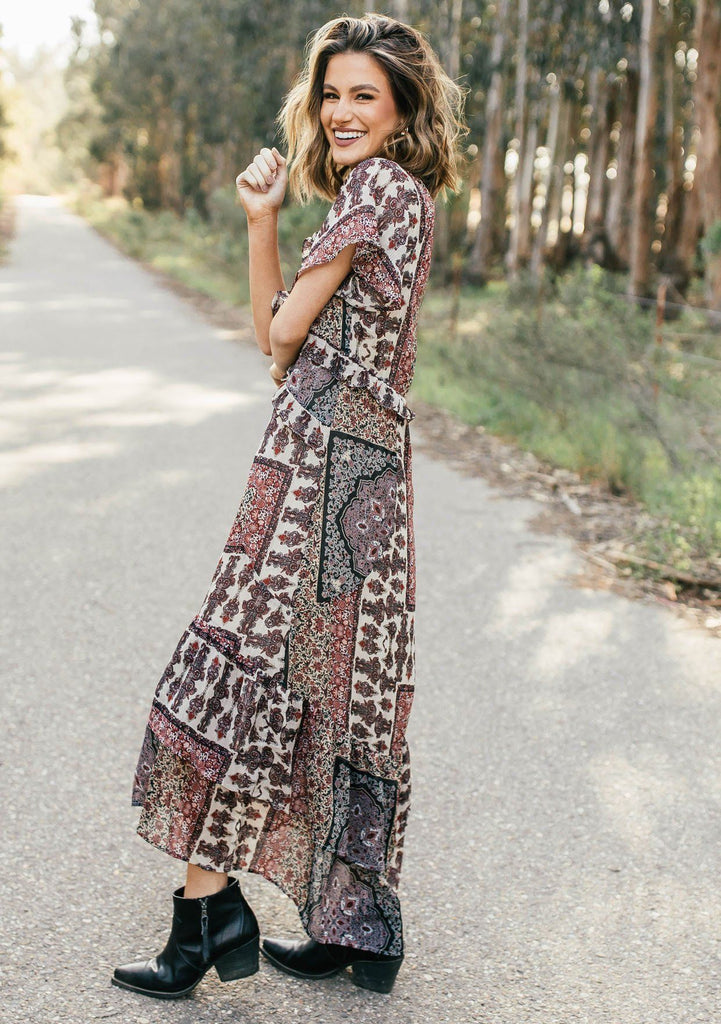 [Color: Midnight/Sand] Lovestitch floral paisley printed, flutter sleeve maxi dress with tiered, ruffled detail.