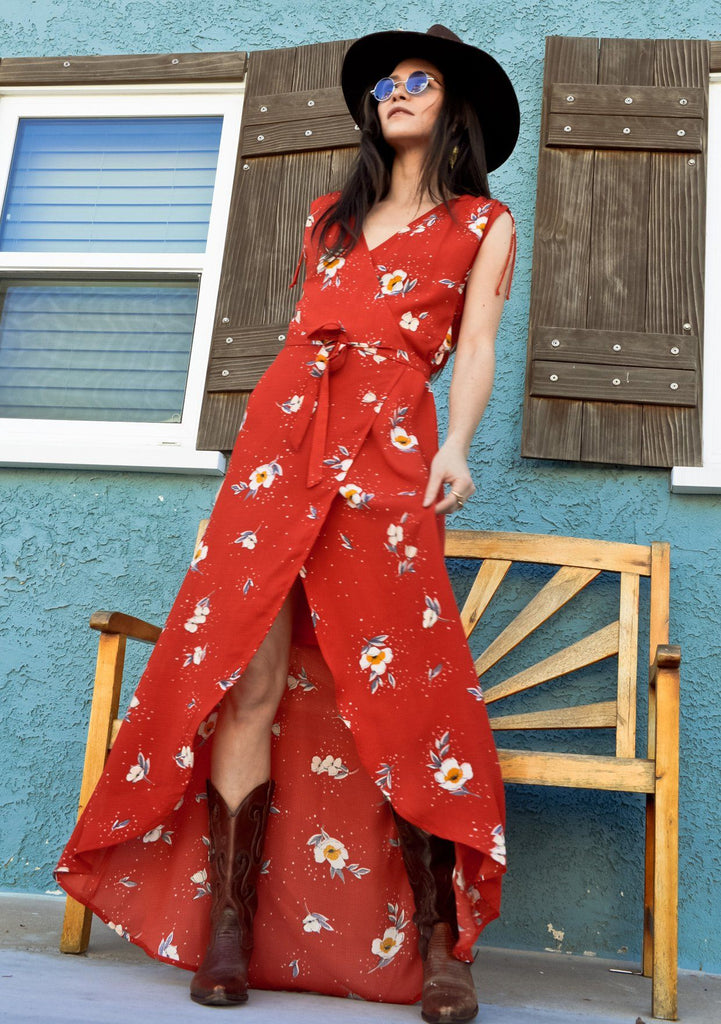 [Color: Tomato Floral] Lovestitch Red Floral Printed Wrap Maxi Dress with Tie Shoulder Detail