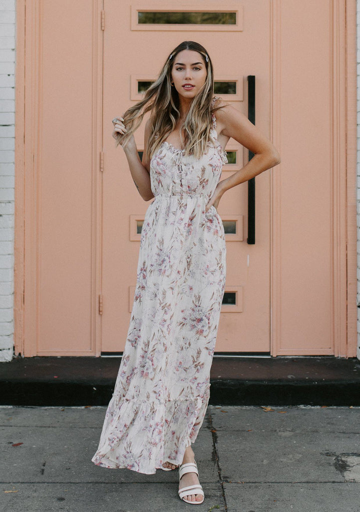 [Color: Cream/Carnation] Lovestitch cream/carnation Watercolor floral printed, lace-up front maxi dress with ruffled details and lurex.
