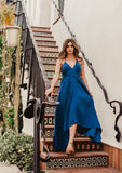 [Color: Royal] Lovestitch V-neckline, royal blue cotton dress with versatile long straps and backless detail