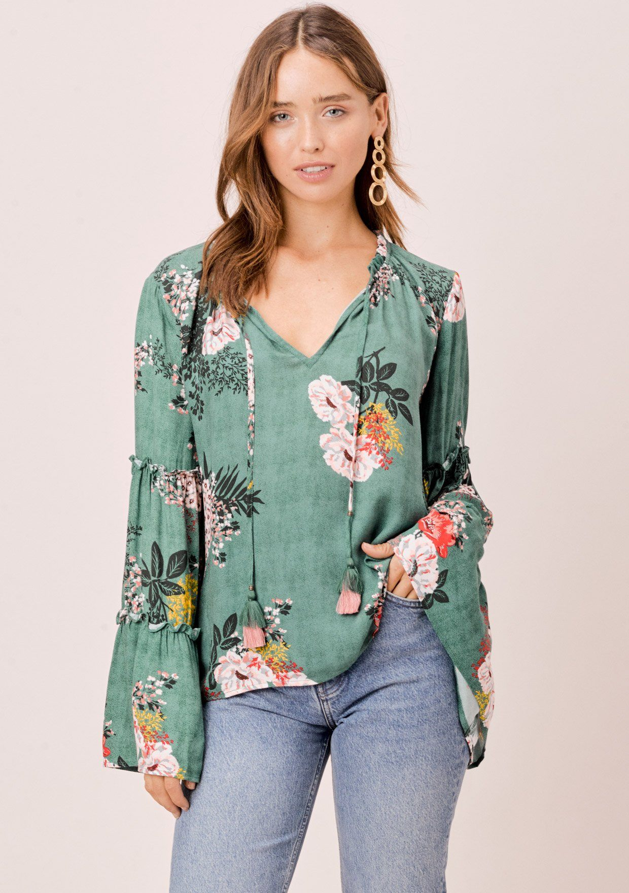 [Color: Sage] Lovestitch sage green Floral printed, bell sleeve, bohemian top with tie neck and ruffle details.