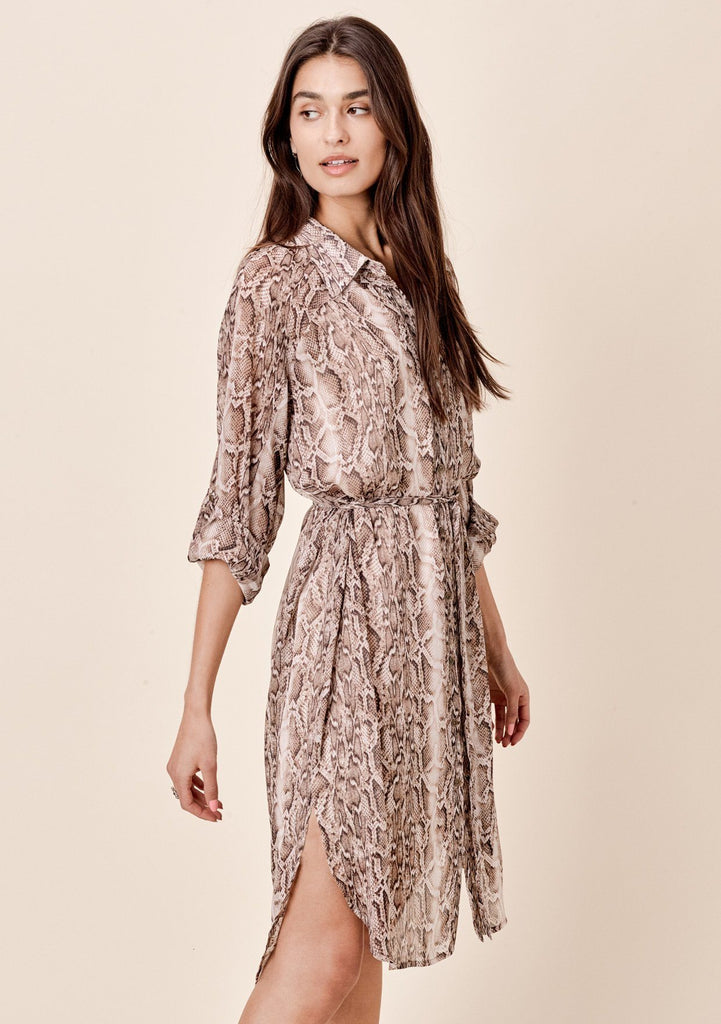 [Color: Brown/Gold] Lovestitch brown/gold Snakeskin printed, buttondown dress in crinkle chiffon with lurex details.