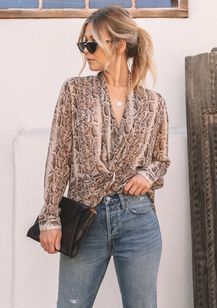 Beverly Snake Print Knot Front Top