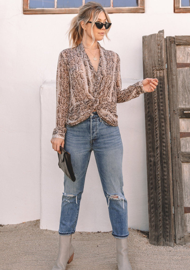 [Color: Brown/Gold] Lovestitch brown/gold, snakeskin printed, sheer chiffon, long sleeve, knot front top.
