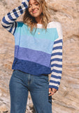 [Color: Navy Multi] Lovestitch Navy Multi Lightweight, long sleeve, mixed striped, crewneck knit pullover. Perfect for those slightly chilly, cozy days.