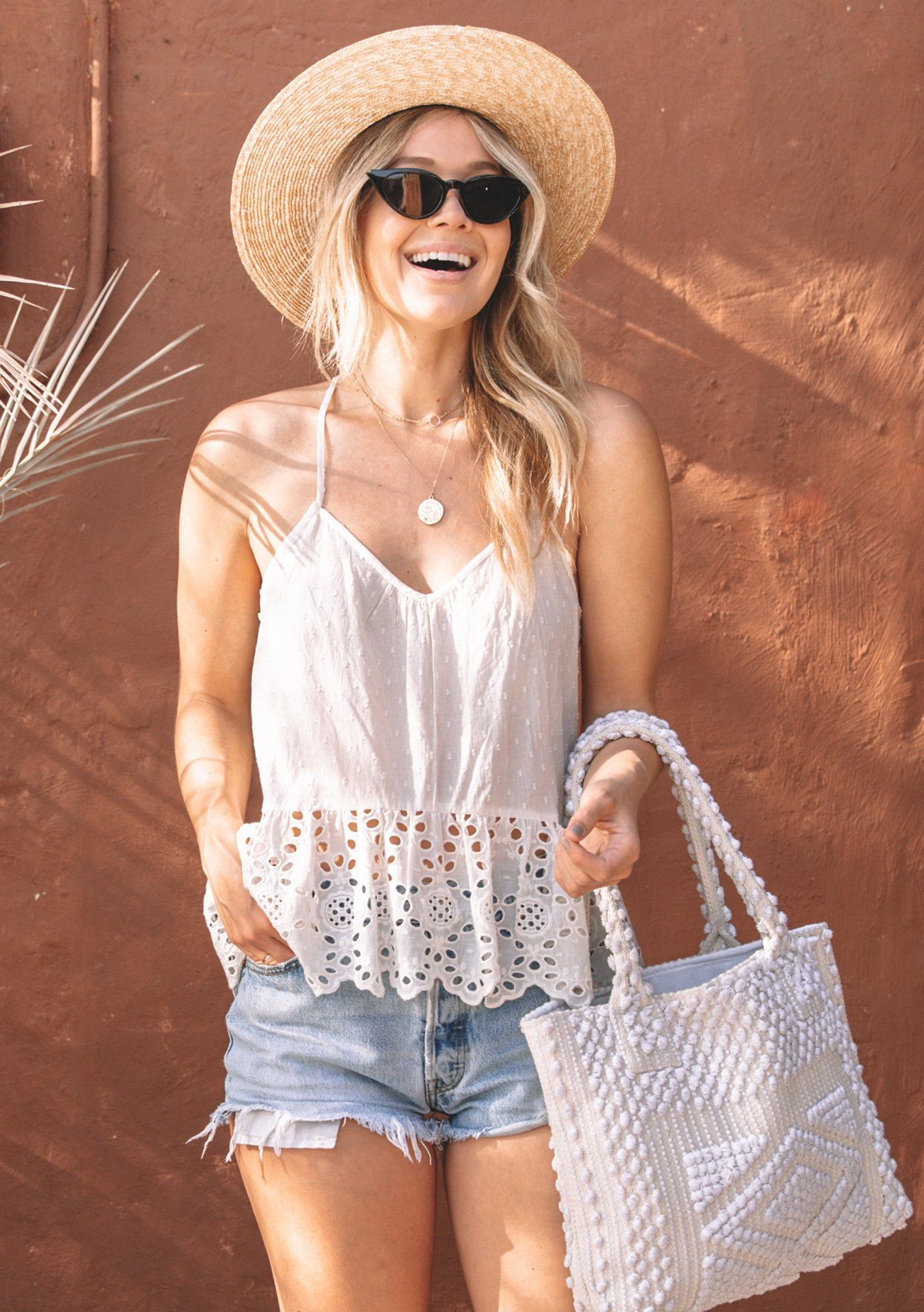 [Color: Vanilla] Lovestitch Eyelet Tank Top with Ruffled Hem