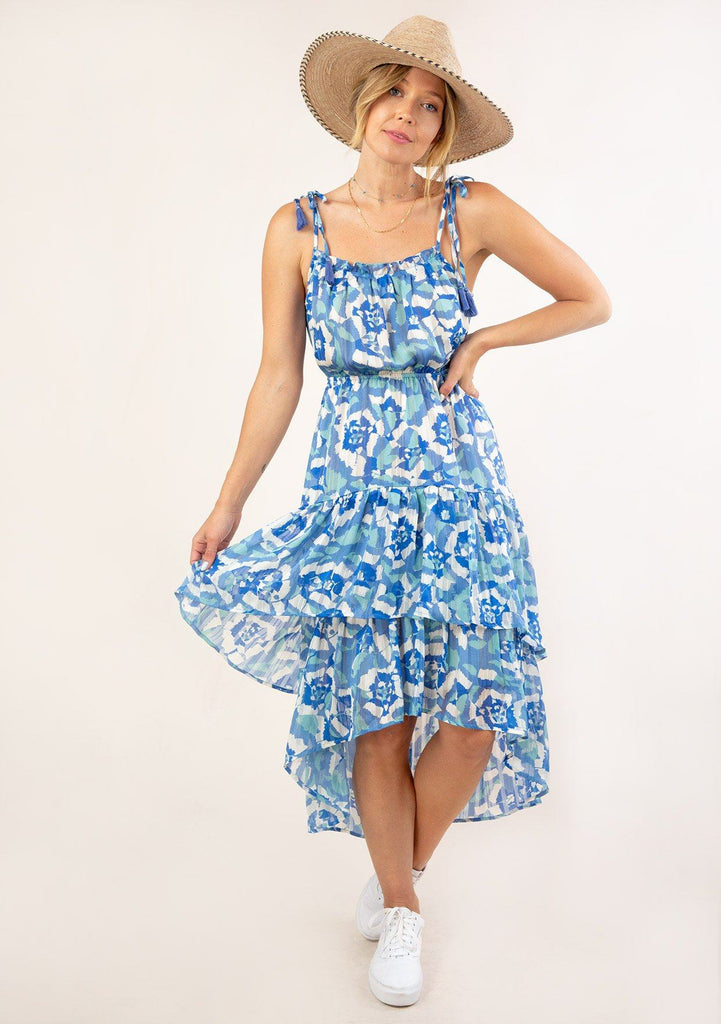 [Color: Blue Turquoise] Ultra pretty geo floral print tank top midi dress. Featuring a pretty double tiered ruffle hem.